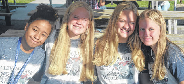 Darryl McGee | Greene County News Lia Johnson, Ella Krall, Gracie Heider, and Riley Krall are friends whio have worked together at the fair for six years.