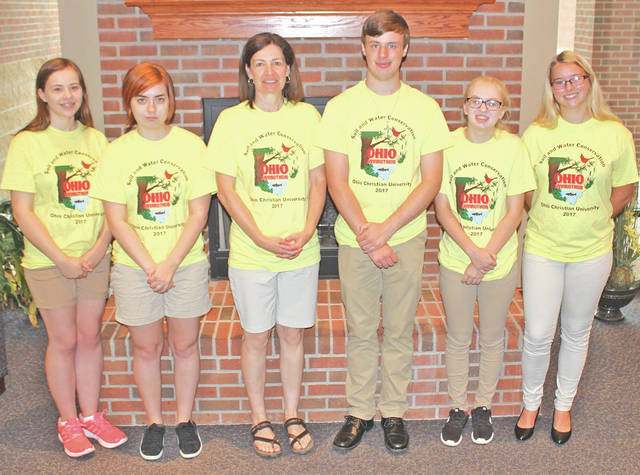 The Lynchburg-Clay Gold Envirothon team is pictured, from left, Sydney Morris, Grace Brownsberger, coach Lara Hamilton, Branson Young, Lyndsey Throckmorten and Kelsey Arnett.