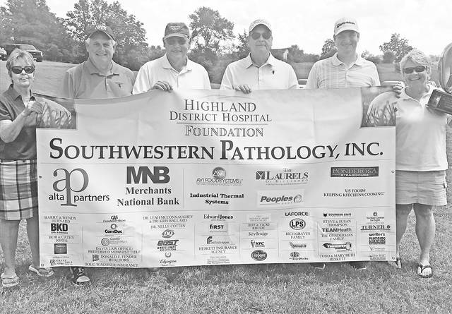The first place team members at the HDH Foundation Golf Outing were, from left, Terry Thomas, Dr. Christopher Lawley, Dr. Brian Jolitz and Kyle Fulk. Also shown are Vicki Rhude, left, chairman of the HDH Foundation Board of Directors, and Cathy Jones, right, HDH Foundation director.