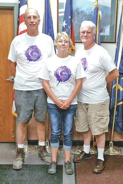 Hillsboro VFW Post 9094 recently donated $500 to the Highland County for Life that will take place this Friday and Saturday at the Highland County Fairgounds. Flanking Relay for Life representative Janie Angles are VFW Commander Rick Wilkin, left, and VFW Quartermaster David Pinney, right.