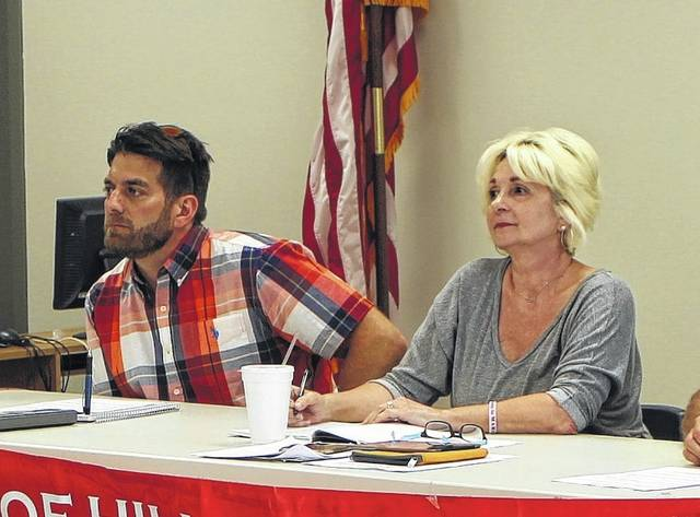 Hillsboro Street and Safety Committee chairman Justin Harsha, left, sits with committee member Ann Morris during a Wednesday meeting.