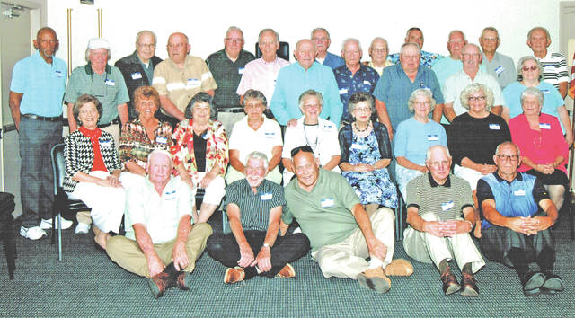 "The Hillsboro High School class of 1957 held its 60th class reunion June 24 at the Ponderosa Banquet Center. Fifty-one class members and guests enjoyed an evening of exchanging memories and a delicious banquet dinner. Plans were made for a picnic reunion on June 23, 2018 at Liberty Park. Pictured are (front row, l-r), Omar Price Jr., Tom Wilkin, Herbert Rhoads, Gene McLaughlin and Ronald Countryman; (second row, l-r) Christine (Mackey) Cook, Patricia (Streber) White, Alice (Runyon) Henson, Susan (Stephens) Gall, Joyce (Reed) Frazer, Beverly (Dillard) Rhoads, Mary (Robinson) Potts, Maxine (Groves) Pitzer and Olive (Holbrook) Hoagland; (third row, l-r) Larry Cole, David Burkard, Larry Sonner, Ed Hiestand, David Deininger, Larry Evans, Charles Leber, Lloyd Rhoads and Mariana (Dixon) Rhoads; (fourth row, l-r) Wayne Meddock, Leslie Garman, Paul ""Butch"" White, James Hall, Phil Williams, Bill Smith, Dean Greene and Bob Dunlap."