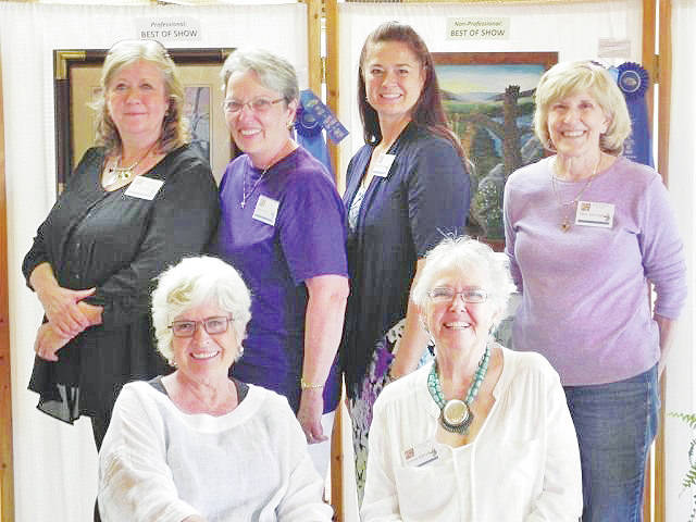 Local winners from the Brush and Palette Art Guild 60th Anniversary Show are pictred (front row, from left) Sandra Pence and Connie Barrett; (back row, from left) Kim Girodano, Sharon Eley, Melissa Bourne and Mary Keininger.