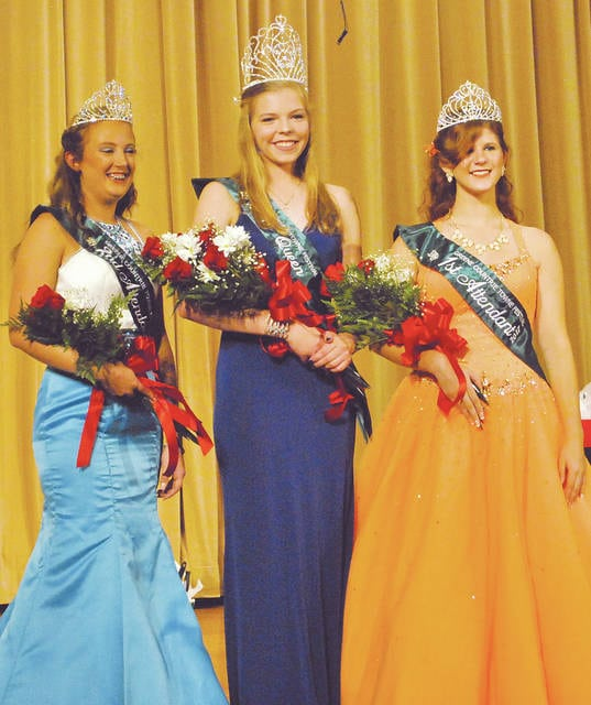 Emily Parker, the 2017 Greene Countrie Towne Festival queen, is flanked after Thursday night's pageant by first attendant Madeline Davis, right, and second attendant Taylor Boggs, left.