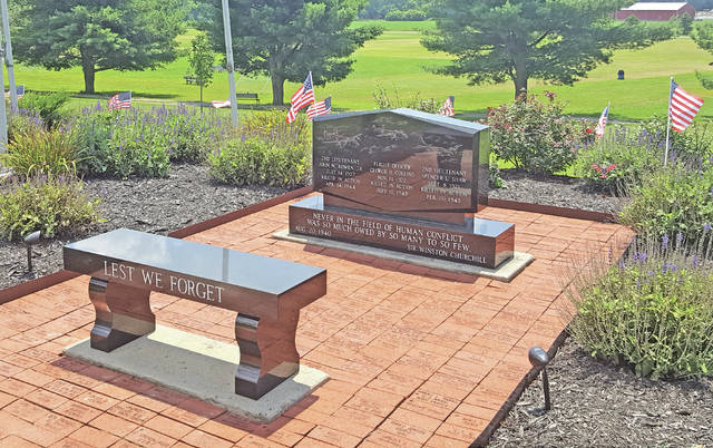A small portion of the veterans memorial at Liberty Park in Hillsboro is shown in this photograph. The memorial recently won the Hillsboro Garden Garden Club Community Landscaping Award.
