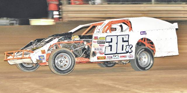 Kieth Bills, driver of the 36 K, comes out of turn four on Saturday night at U.S. 35 Raceway Park. Bills, from Hurricane, West Virginia, took home first place in the V8 Modified class feature race.