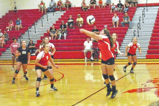 The Fairfield Lady Lions try to secure a point during the Spike and Dig Tournament held at Hillsboro High School.