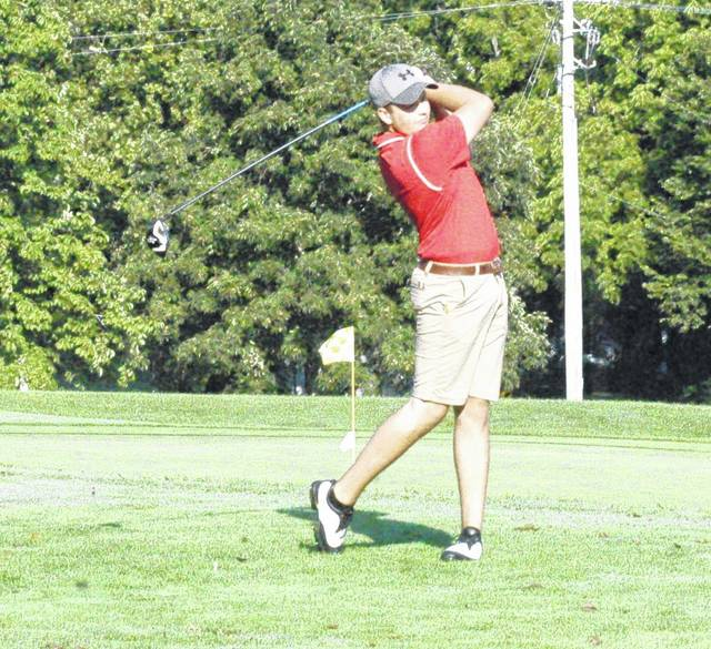 Will Kiefer tees off from hole number one at Buckeye Hills Country Club during the McClain Invitational Tournament held on August 8.