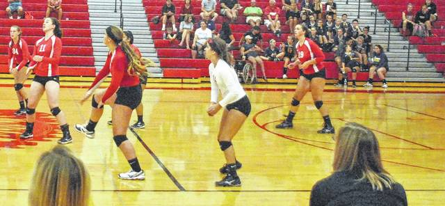 The Hillsboro Lady Indians volleyball team participates in the Spike and Dig tournament at Hillsboro High School of Saturday August 19 against the Fairfield Lady Lions.