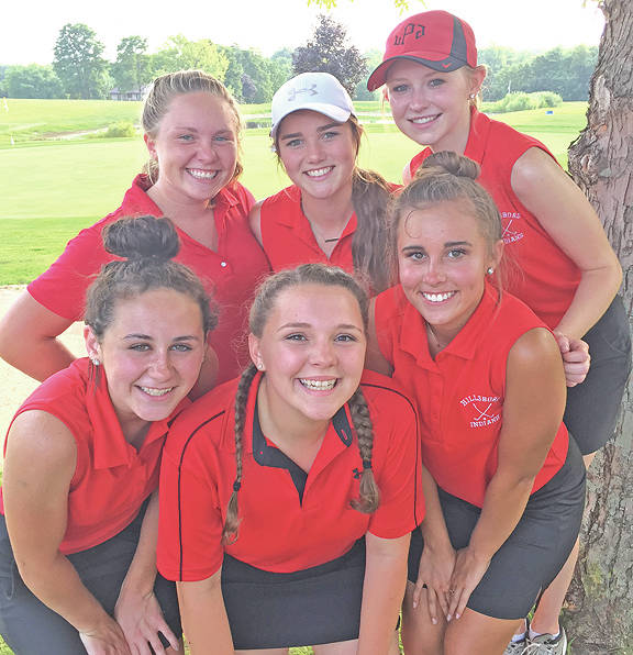 Members of the 2017 Hillsboro High School girls golf team are pictured after a victory Wednesday over McClain at Buckeye Hills.