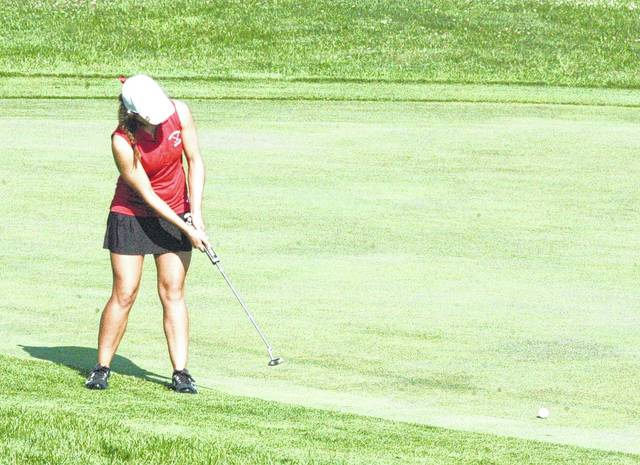 Kristen Jamieson, a junior at Hillsboro High School, putts on the 18 green on Tuesday during the Adam Sharp Memorial at Buckeye Hills Country Club. Jamieson and the Lady Indians golf team opened FAC play on Wednesday at the Elks Golf Course against Jackson.