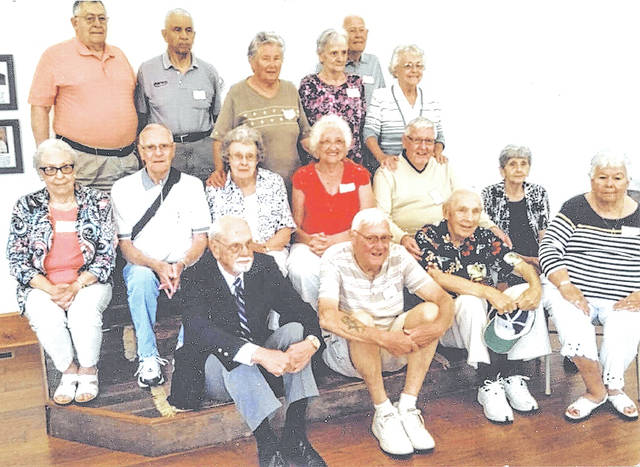 "The McClain High School class of 1952 held its 65-year reunion recently. Pictured are (front row) Fred Raike, Kenneth Bond, David Boone Brizius and Jean Freshour Yates; (second row) Ruby Rittenhouse Cane, Bill Copeland, Nancy Cook Porter, Rita Baxla Shonkweiler, Jim Clark and Marcella Leverton Lawwell; (back row) Chesler Stratton, Charles ""Buck"" Harris, Jean Barnhart Snider, Margaret Patton Sagar, Jerry Haney and Ella Jean Smith. Not pictured are Connie Curren and guests Sue Stratton, Ann Shuster, Ivalee Hull, Betty Bond, Mary Chapman, Janny Brizius, Don Porter and Charles Shonkweiler."