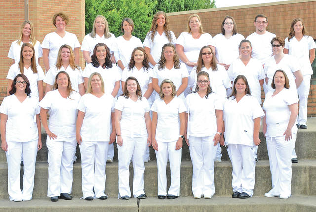 The newest graduates of the practical nursing program at Southern State Community College include (front, l-r) Lauren Weekes, Kandace Wolf, Rachel Schmid, Alicia Wesley, Candace Winters, Sara Eagle, Dezirae Bonilla Smith, Mary Harney; (second row, l-r) Erin Rhonemus, Erin Rowlands, Christina Pitzer, Pam Hagenmaier, Kristina Bushelman, Christmas Sholler, Courtney Graham, Jacque Pirtle: (third row, l-r) Jessika Taylor, Melinda Roades, Summer Rowe, Tara Wallace, Sarah Rosselott, Michele Teboe, Kerri Harper, Alex Brewer, and Sierra McBride; as well as (not pictured) Shala Schutte, Fatih Cernetic, Amanda Cummins, Ann Barton, Hilary Montalvo, Annie Weathers, Jennifer Lahey, Shelby Hammonds, Chasidy Davis, Stephanie Wiley, Samantha Gillespie, Chelsea Julian, Kristina Eldridge, Amanda Jaggers, Audra Brown, Jennifer Munoz, and Kristi Watkins.