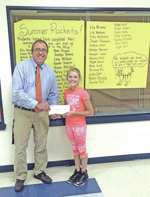 Students from Bright Elementary School recently were recognized for completing and turning in their summer work packets. Each student was provided with a voluntary summer work packet to complete over the summer break. A total of 55 students completed a packet and were provided with a small gift bag as a reward for their hard work. The students were also eligible for a drawing to win a $25 gift card to Walmart. Sixth grade student Brianna Hill was the winner of the gift card.