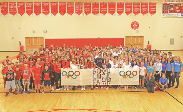The Hillsboro City Schools encouraged students and staff to wear red, white and blue on Friday, Sept. 1 to show their support for Hillsboro Elementary teacher Fawn Girard. She will be competing in France from Sept. 18-24 for the USA Archery Team.
