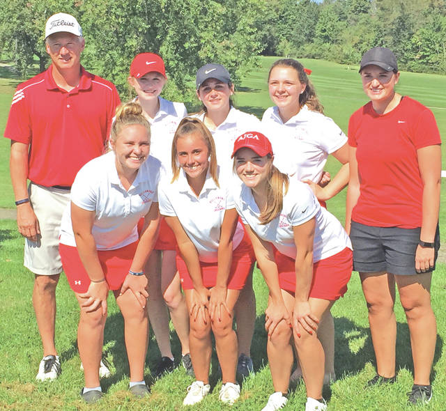 Members of the 2017 Frontier Athletic Conference champion Hillsboro High Schools girls golf team are pictured (front row, l-r) Mallory Parsons, Emily Loudin and Kristin Jamieson; (back row, l-r) coach Hilliard, Larkyn Parry, Madi Stratton, Abby Myers and assistant coach Carey Juillerat.