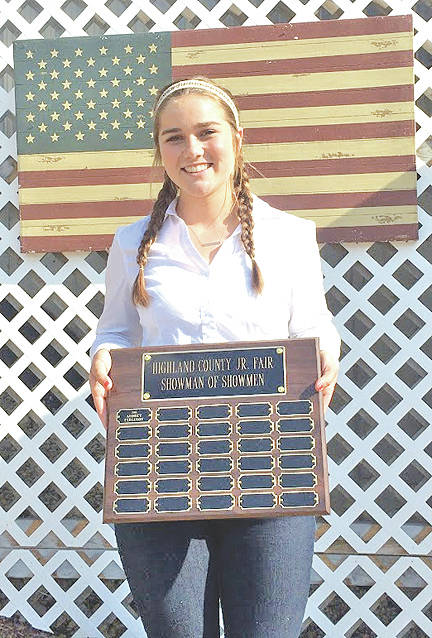 Kristin Jamieson's name was added to the Highland County Junior Fair Showman of Showmen plaque this year.