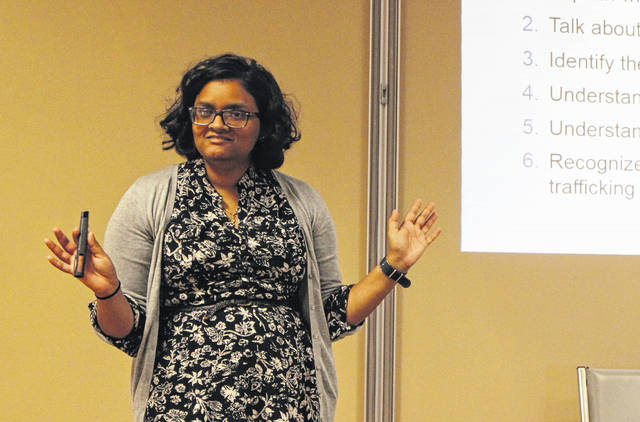 Bhumika Patel speaks to the Highland County Drug Abuse Prevention Coalition about human trafficking Thursday afternoon at the North High Business Center.