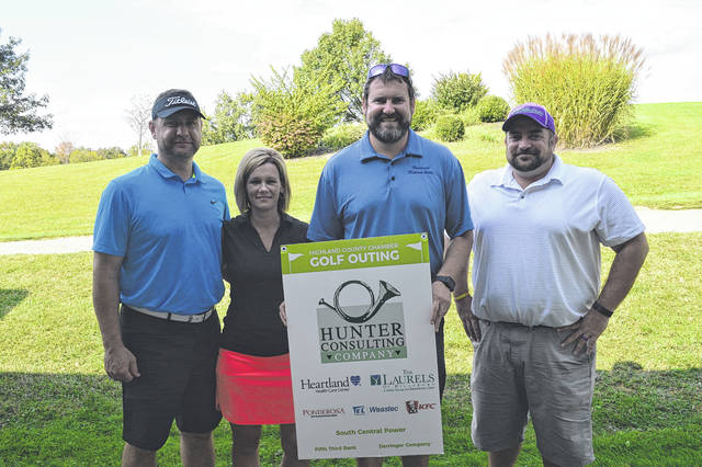The Highland County Chambers Golf Outing was held on Sept. 22 at Buckeye Hills Country Club in Greenfield. The team from Merchants National Bank placed first in the event.Pictured are (l to r) - Nick Fauber, Denise Fauber, Blain Bergstrom, and Eric Wise.