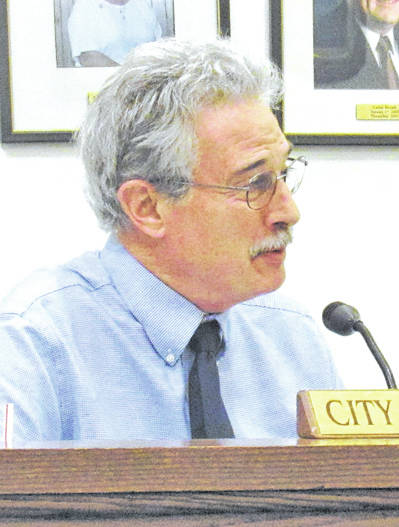 Greenfield City Manager Ron Coffey is shown at a past village council meeting.