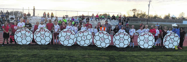 Fairfield High School honored the seniors from the boys and girls soccer teams on Wednesday night against the West Union Dragons. Pictured (l to r): Quinton Beatty, Garrett Spargur, Aubrey Drabik, Kodi Haynes, Rylie McKinley, Ashley Moore, Annya Sheppard and Shay Turner.