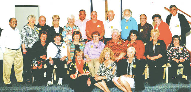 Those attending the McClain High School class of 1962 55-year reunion included (front row, l-r) Nancy Farley Harrison, Judy Thompson McCarty and Libby Moore Davis; (second row, l-r) Sue Karnes Frost, Cheryl Stuckey Collier, Carolyn Diltz Hamilton, Leone Meredith Bihl, Betty Ely Jenkins, Laverne Rhoades Hughes, Connie Grubbs Wile and Frances Kerns Mathers; (back row, l-r) Terry Jennings, Rosemary Caplinger Drummond, Fred McCoppin, Kathy Hicks Corzatt, Anna Ross Masterson, George Ford, Jim Clouser, Rick Vandemark, Ed Schmidt, Kenny McKinley, Joanne Kneisley Winget and David King.