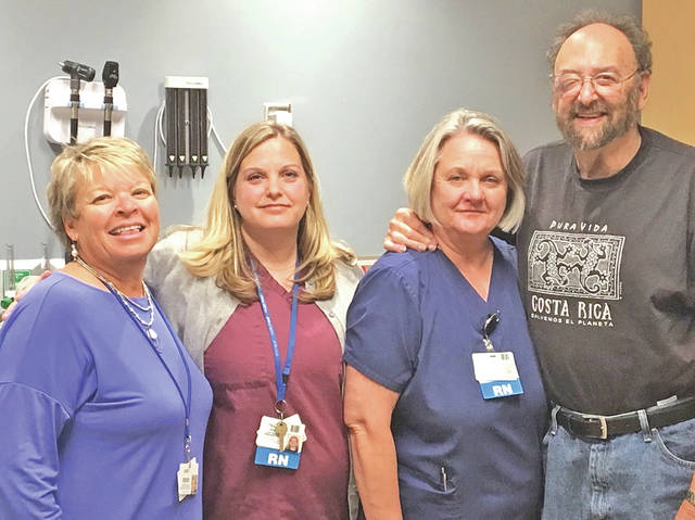 Dr. Paul Schreibman recently contributed to the Highland District Hospital Foundation GreatER Care Campaign. This five-year campaign is an effort to raise more than $1.5 million toward the recent renovation and expansion of the HDH Emergency Department. Currently the campaign has raised $1,256,000. Pictured, from left, are Cathy Jones, HDH Foundation director; Tracey Coss, Emergency Department manager; Terri Balser, Emergency Department staff nurse; and Schreibman, retired HDH physician who served as the emergency medicine director for many years.