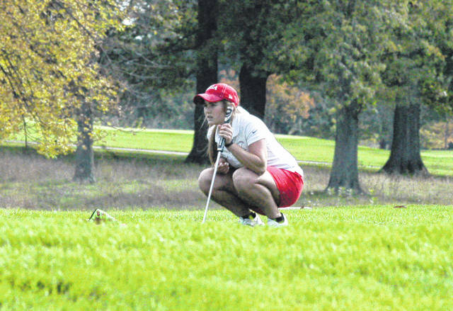 Hillsboro junior Kristin Jamieson surveys the 11th green on the OSU Gray course on Saturday at the D I state golf tournament.