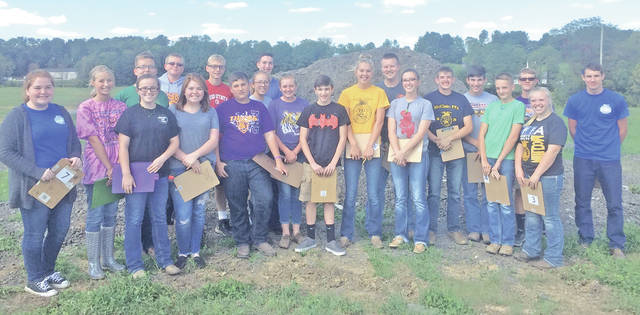 Twenty-six members of the McClain FFA recently participated in the Rural and Urban Soils Contest. The rural team placed first at county and second in the district. The ag team that competed at the district was composed of Caitlin Willis (5th), Braden Goldsberry (8th), Josie Crabtree (13th), Alex Snyder (27th), Caleb Cook (38th) and Justin Hall (59th). The urban team placed first in county and the district with a team composed of Garrett Brewer (1st), Bryn Karnes (2nd), Cierra Bolender( 3rd), Ethan Cockerill (9th), Emily Jones (13th) and Kyle Wyatt (20th). Soil judging opens the doors of opportunity to students who will be pursuing a job in structural engineering or the agriculture industry.