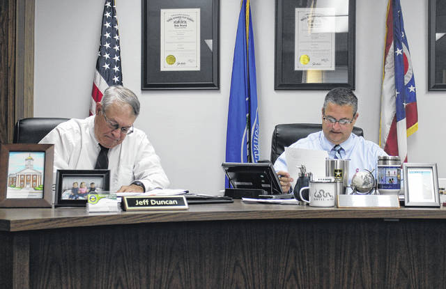 Commissioner Jeff Duncan and Highland County Board of Commissioners President Shane Wilkin sit in session during a commissioners meeting on Wednesday.
