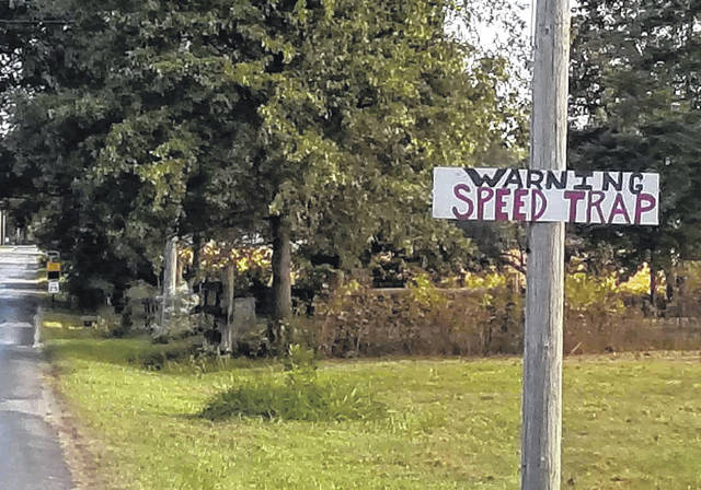 This photo of a homemade sign on Harvey Road near Mowrystown was sent to The Times-Gazette via a Facebook message.
