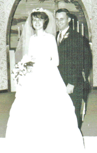 Mr. and Mrs. Tim Butler will celebrate their 50th wedding anniversary on Dec. 2. They are pictured in a recent photograph and on their wedding day.