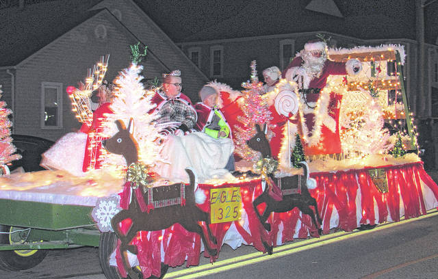 The Greenfield Eagles float, complete with Santa and Mrs. Claus, is pictured at the end last year's Christmas parade in Greenfield. The Eagles will put the annual parade on for the 36th year on Saturday, Dec. 2. It starts at 6 p.m.