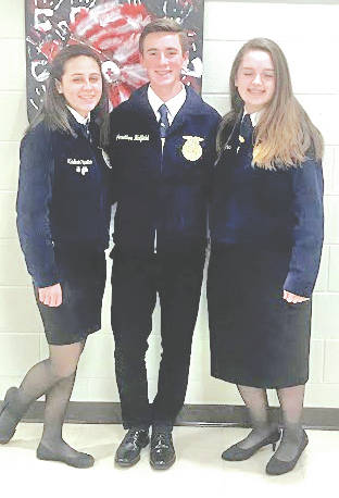 """The Hillsboro FFA Chapter recently participated in the Sub-District and District Job Interviews Contests. The Sub-District contest was held Nov. 6 and hosted by the McClain FFA Chapter. The Hillsboro FFA was well represented by five members and three of them advanced to the district. """" This is a great opportunity that will help prepare me for a real job interview,"""" said Larkyn Parry. On Nov. 9 the Hillsboro FFA hosted the District Job Interview Contest. Madison Stratton, Jonathon Hatfield and Jaiden Hughes represented the chapter. Hughes got third overall for Division II. Job Interview is a great way for students to learn how to make a resume, cover letter, follow-up letter, and how to master the interview process. The students are learning valuable life skills that will help them in life now and later. """"I wish I would have done job interview sooner,"""" said Madison Stratton. The Hillsboro FFA would like to thank all the teachers, staff, judges and parents for their help. Pictured, from left, are Madison Stratton, Jonathon Hatfield and Jaiden Hughes."""