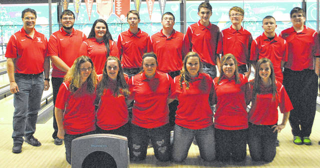 The Fairfield High School boys and girls bowling teams pose for a group photo at Highland Lanes in Hillsboro after their last preseason practice.