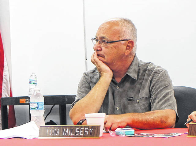Hillsboro City Schools Board of Education member Tom Milbery listens to discussion during a previous school board meeting.