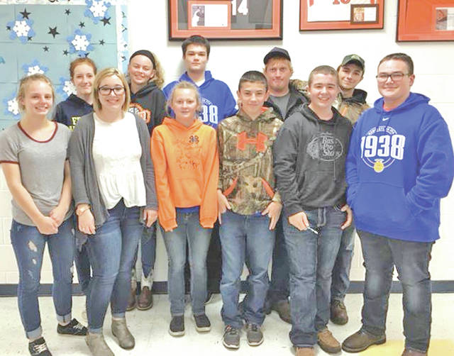 The Mowrystown FFA Chapter recently hosted the District 9 Food Science and Technology CDE, which requires students to have an in-depth understanding of food product development and presentation and food safety issues. Participants use their sensory skills to solve problems and make sound decisions. About 175 FFA members from 16 schools attended this event. The Mowrystown Junior High team, which consists of Aiden Elliot, Tristen Helterbrand, Sky Leston and Bobby Satterfield, placed third in the district. The Mowrystown High School team, which consists of Nate Frazer, Alecia Kennedy, McKenzie Satterfield, Morgan Evans, Jeanette Cox, Nate Whited, Colton Evans and Jacob Arledge, placed ninth in district.