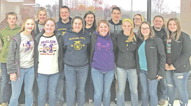 On Nov. 15, 14 members of the McClain FFA Chapter competed in the District Food Science Contest held at Whiteoak High School in Mowrystown. The McClain team placed sixth in the district. The competition includes food science math, aroma, triangle tests, food safety, customer complaint letters, and equipment. This contest teaches students to deal with unsatisfied customers and what the complaint entails. Also, the CDE educates students on the food safety in agriculture and how to apply it in real world situations.