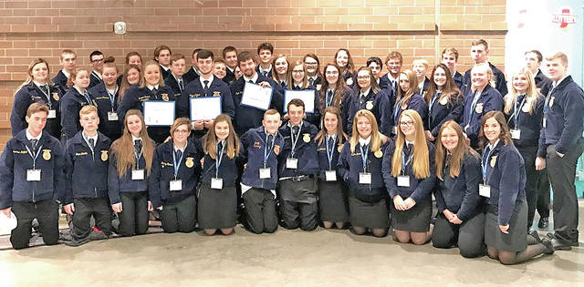Members of the Hillsboro FFA Chapter are pictured at the 90th National FFA Convention and Expo in Indianapolis, Ind.