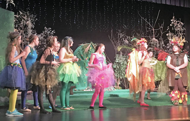 "Hillsboro High School students are pictured during a rehearsal for this weekend's presentation of ""A Midsummer Night's Dream."""