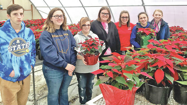 Pictured, from left, are Hillsboro FFA members Christian McConehea, Pyper Ross, Brittany Howard, Emily Pence, Jessica Moon, Madi Stratton and Larkyn Parry.