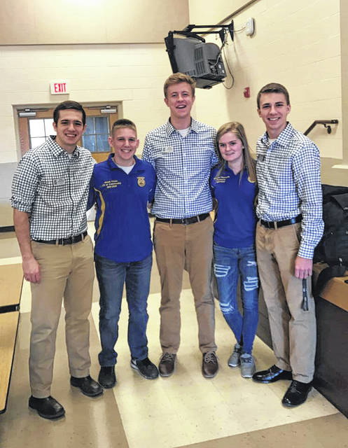 From left, Ryan Matthews, Grant Crum, Evan Callicoat, Kennedi Claycomb and Kolsen McCoy pause for a photo at a recent Hillsboro FFA event.