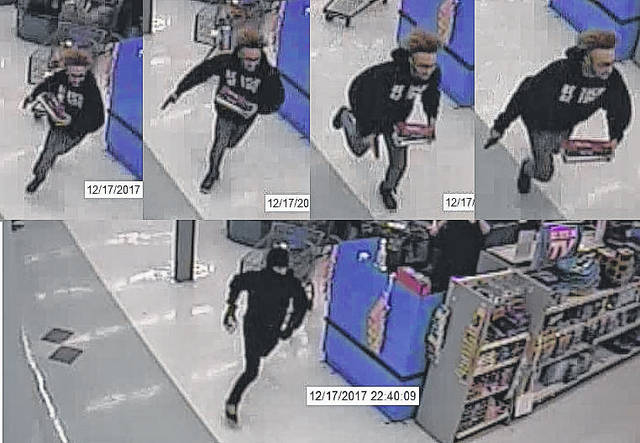 Shown in the top half of this graphic is a man who authorities say brandished a handgun before taking cigarettes from Walmart. Shown in the bottom half is a man who apparently wore a ski mask during the robbery.