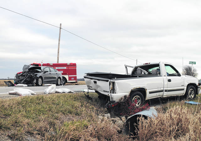 A Lynchburg man sustained non-life-threatening injuries on Thursday in a two-car accident on U.S. Route 50 west of Lynchburg. According to trooper James Brooks with the Ohio State Highway Patrol, Raymond Koch, 78, Lynchburg, was driving westbound on U.S. 50 in a white 2000 Chevrolet Silverado, and was about to turn left on Quallen Road near the Brown County line when he was struck from behind by a gray 2015 Ford Fusion driven by Jonathon Pfeiffer, 43, Midland. Koch's vehicle rolled once and came to rest in a ditch on the side of the road, according to Brooks. Brooks said Koch was transported by ground to Highland District Hospital with non-life-threatening injuries. Pfeiffer will be charged with assured clear distance ahead, Brooks said.
