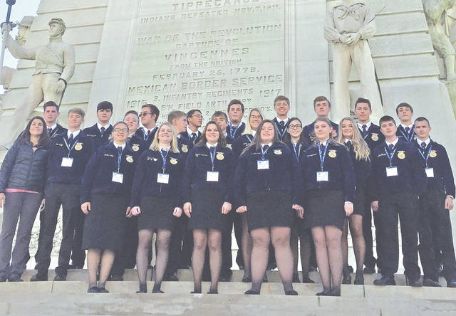 Members of the Lynchburg-Clay FFA Chapter that attended the 90th annual National FFA Convention and Expo recently in Indianapolis are pictured.