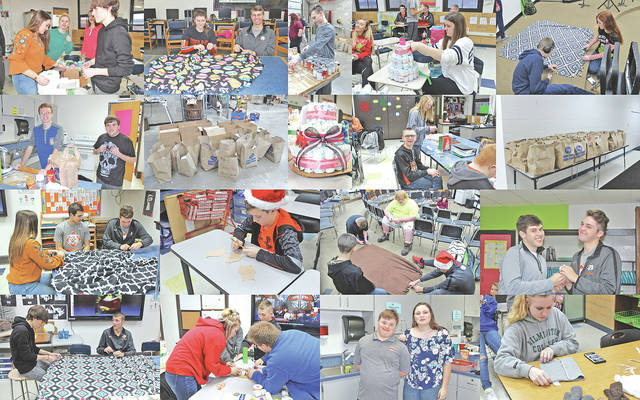 The Mowrystown FFA Chapter hosted its third annual Day Of Giving on Dec. 19. The Day Of Giving is the last day before Christmas break when the whole school gets together to give back to the community. This year the students made 93 tie blankets and 217 towel bears for Cincinnati Children's Hospital, 11 diaper cakes for teh Southern Ohio Pregnancy Center in Hillsboro, 37 hygiene bags for the Highland County Homeless Shelter, 49 food boxes for students to take home over break if they needed food, and two bags full of dog treats for the animal shelter. The chapter would like to thank everyone that donated items and all the students that helped give back to the community on this day.