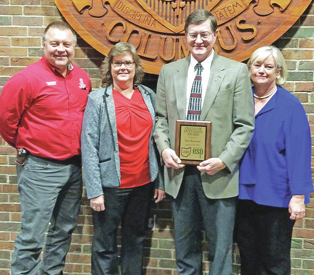 Pictured, from left, are David Dugan, ANR educator; Kathy Bruynis, county Extension director and 4-H educator; Don Branson; and Chris Branson.