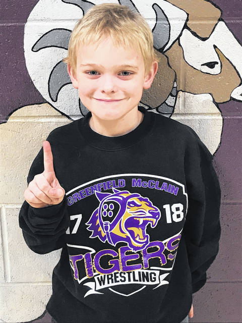 Nate Breakfield is pictured at Mechanicburg High School following his championship performance in a COBYWA tournament Sunday.
