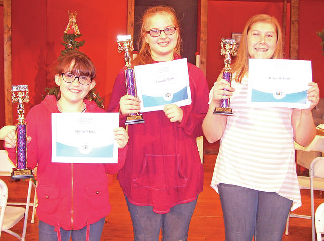 The winners of the Greenfield Middle School Spelling Bee are pictured: first place, Tommie Watts, 7th grade; second place, Skylar Mazo, 6th grade; and third place, Rylee McGuire, 8th grade.