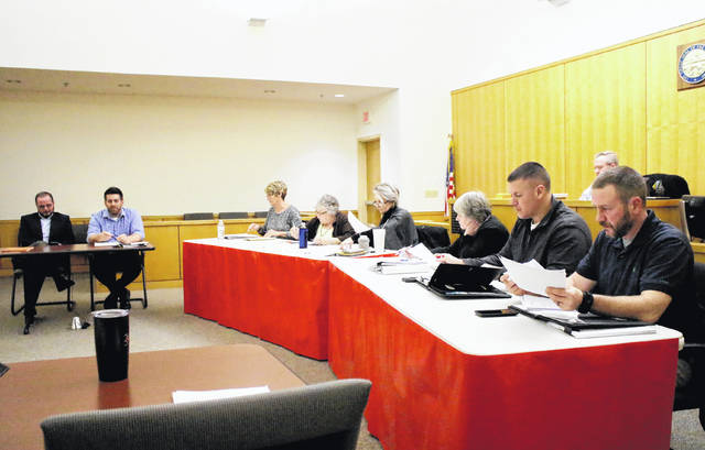 Shown, from left, are Hillsboro Auditor Gary Lewis and council members Justin Harsha, Mary Stanforth, Claudia Klein, Ann Morris, Wendy Culbreath, Brandon Leeth and Adam Wilkin.